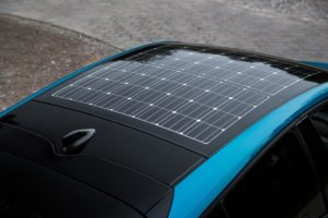 Solar panel on the roof of a car.